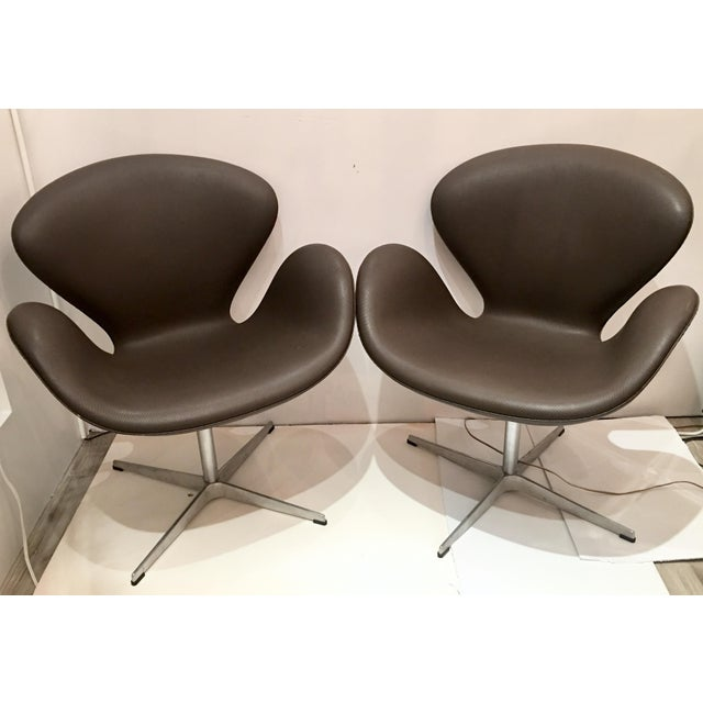 Arne Jacobsen for Fritz Hansen Swivel Swan Chairs - A Pair - Image 2 of 9