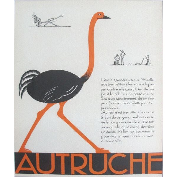 1930s French Art Deco Ostrich Giclee Print - Image 2 of 2