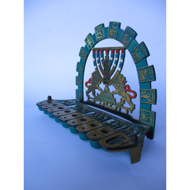 Vintage Bronze & Brass Oil Menorah - Image 9 of 9