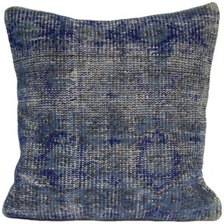 Vintage Blue Overdyed Rug Pillow Cover - Turkish Hand Knotted