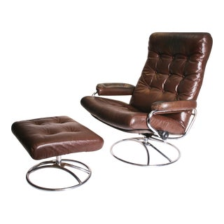 Mid Century Modern Brown Leather Ekornes Stressless Lounge Chair & Ottoman