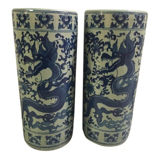 Blue and White Dragon Jars - A Pair