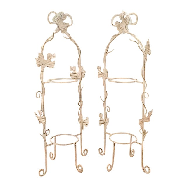 Image of White Two-Tier Pastry Display Racks - A Pair