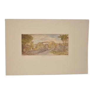 """Rainbow Bridge """"Andy's Place - Haleiwa, Hawaii"""" Color Etching by Partee c.1970s"""