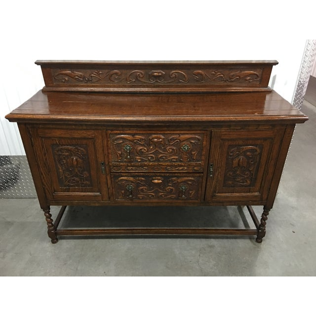 Antique Carved Wood Buffet - Image 2 of 10