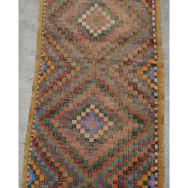 "Turkish Oushak Handmade Cotton Kilim Runner Rug - 3'2"" x 12'4"" - Image 7 of 10"