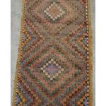"Image of Turkish Oushak Handmade Cotton Kilim Runner Rug - 3'2"" x 12'4"""