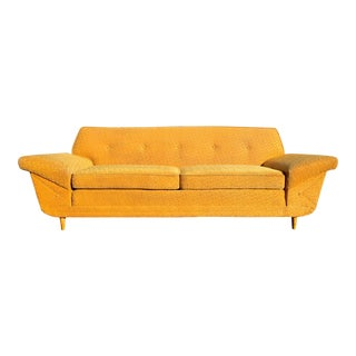 1950s Mid-Century Modern Winged Kroehler Yellow Sofa