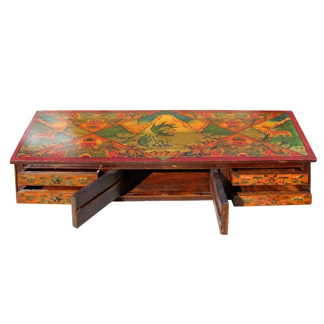 Chinese Tibetan Animal Graphic Low Tv Console Coffee Table Chairish