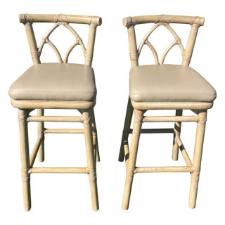 McGuire Bamboo And Leather Barstools - Pair