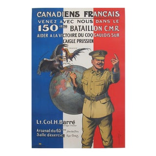 1915 WWI French Canadian Propaganda Poster, 150th Battalion