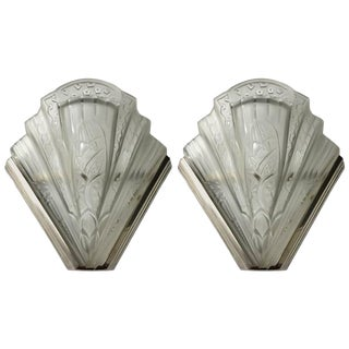 Frontisi French Art Deco Flower Wall Sconces - A Pair