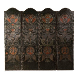 Antique French Four Panel Embossed, Painted and Gold Leaf Leather Screen circa 1840