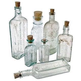 Vintage Aqua Glass Bottles - Set of 7