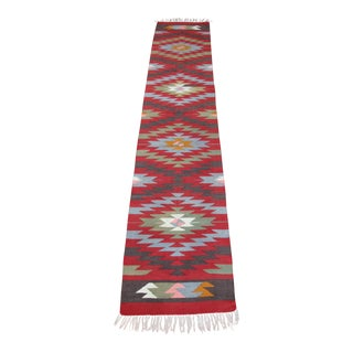 Turkish Anatolian Kilim Diamond Runner Rug - 2' x 10'
