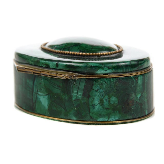 Russian Malachite Oval Compact Jewelry Box - Image 4 of 8
