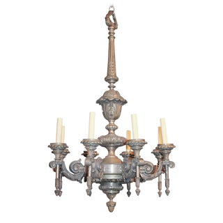 19th c. French Pewtered Bronze Chandelier