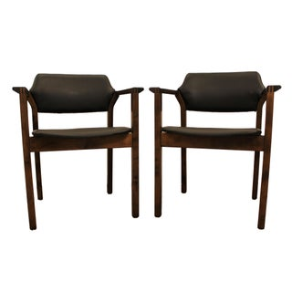 Mid-Century Walnut Open Arm Lounge Chairs - Pair
