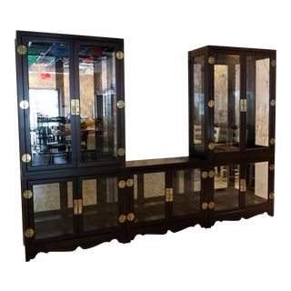 Drexel Asian Modern Glass Curio Display Cabinets - 3 Pieces