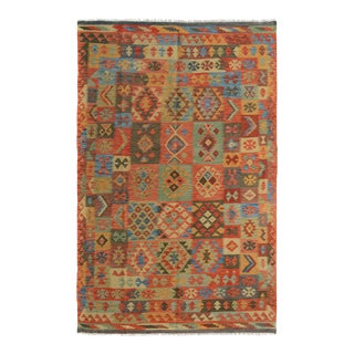 "Kilim Arya Edison Red/Green Wool Rug - 5'7"" X 7'10"""