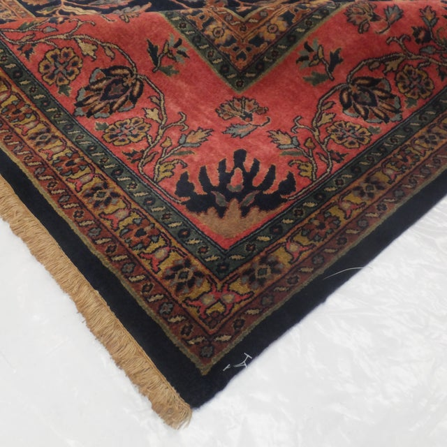 Image of Hand Woven Navy Persian Sarouk Rug - 9' x 12'1""