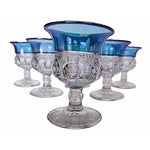 Image of 1940s Blue King's Crown Cordials - Set of 6