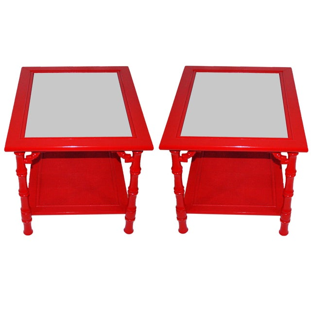 Mersman Faux Bamboo Red End Tables - A Pair - Image 2 of 7
