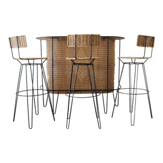 1950's Woven Rattan and Iron Dry Bar & 3 Stools