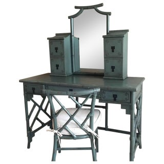 Chinese Chippendale Faux Bamboo Vanity & Chair