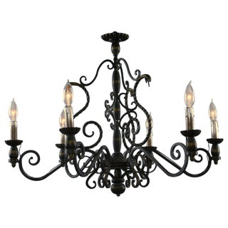 1950 Vintage French Black Metal 6-Arm Chandelier