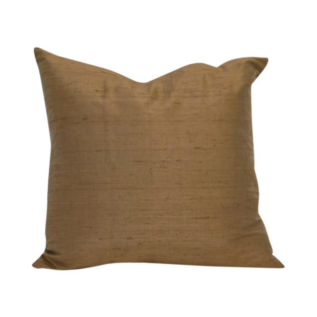 Chocolate Raw Silk Square Pillow Covers - Pair - Image 1 of 3