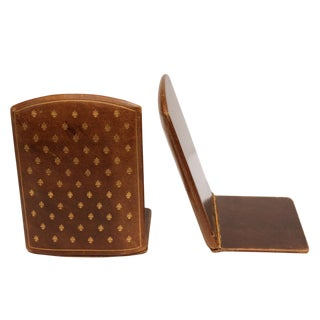 Brown Leather Bookends - A Pair