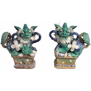 Antique Green & Blue Foo Dogs - A Pair