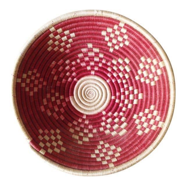 Vintage Geometric Woven Basket Tray Wall Hanging Round Tribal - Image 1 of 4