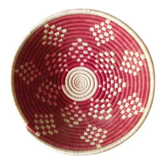 Vintage Geometric Woven Basket Tray Wall Hanging Round Tribal