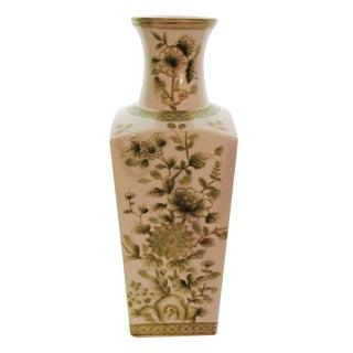 Japanese Chinoiserie Green & White Vase