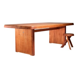 Pierre Chapo Large Custom-Made Elm Dining Table, France, 1960s