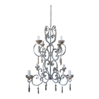 Eight-Light Painted Italian Chandelier with Drops