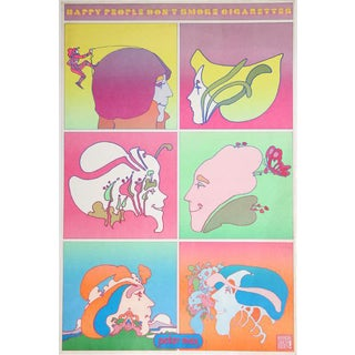 "1970 Peter Max ""Happy People Don't Smoke"" Poster"
