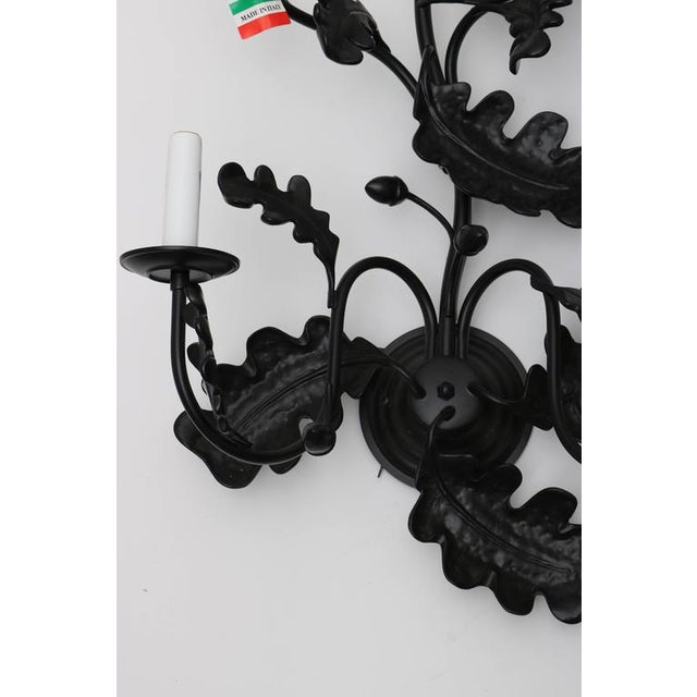 Pair of Five-Light Wall Sconces in Black with Acorn Leaf Motif - Image 6 of 9