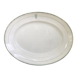 China Platter Green & White B Initial Monogram