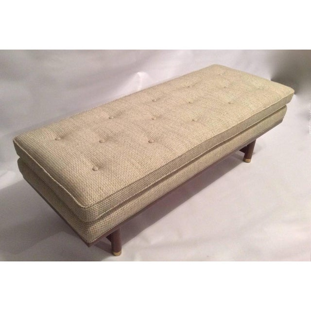Mid-Century Modern Tufted Walnut Bench - Image 9 of 10