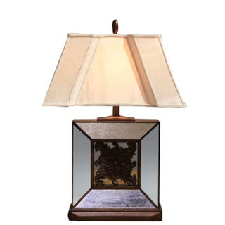 Vintage Sarreid LTD Square Beveled Glass Table Lamp