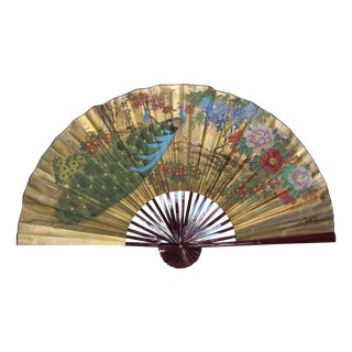 Large Vintage Painted Peacock Folding Fan