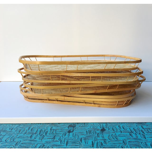 Image of Vintage Bamboo Serving Trays - Set of 5
