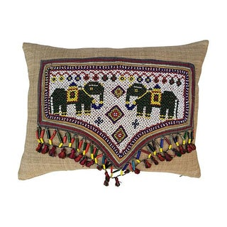 Pillow With Indian Beaded Elephant Banner