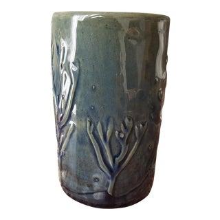 Mid-Century Blue Horse & Tree Pottery Vase