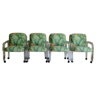 70's Lucite Tropical Floral Armchairs - Set of 4