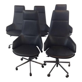 Jean-Marie Massaud Leather Upholstered 'Aston' Style Office Chairs - Set of 5