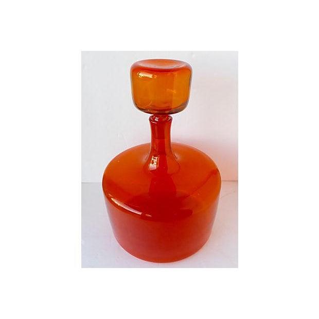 Large Orange Handblown Art Glass Bottle - Image 3 of 5